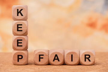 keep fair printed on wooden cubes