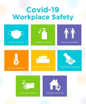 Covid-19 workplace safety poster infographic