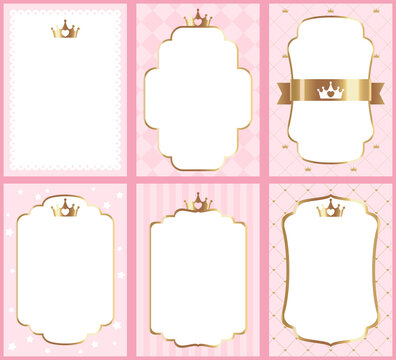 Set of cute princess pink templates for invitations. A little princess party. Wedding, girl birthday invite card. Elegant decor of card vector vintage royal kid decoration templates