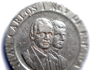 Spanish 200 pesetas coin with the faces of Spain's former King Juan Carlos I and Spain's King Felipe VI is seen in this illustration picture