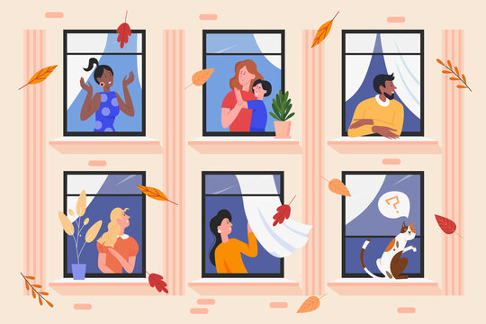People in facade building windows vector illustration. Cartoon flat man woman neighbour characters living in neighboring home apartments, enjoying autumn good weather. Happy neighbourship background