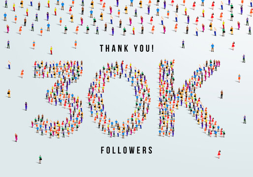 Thank you 30K or thirty thousand followers. large group of people form to create 30K vector illustration