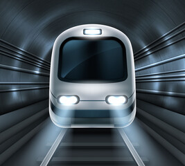 Subway train in metro tunnel front view, locomotive on rails with glowing headlights illumination. Modern underground commuter transport, railway passenger vehicle Realistic 3d vector illustration