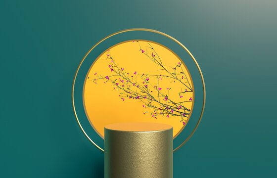 Abstract cylinder box with full moon background. Chinese Mid autumn festival background. 3d render.