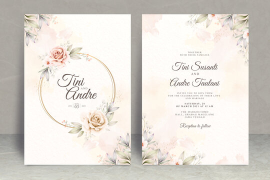 Wedding invitation card set template with flowers and leaves watercolor