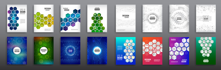 Abstract technology cover with hexagon elements. Set of High tech brochure design concept. Futuristic business layout. Digital poster templates.