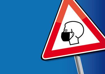 Achtung Mundschutz tragen - Hinweisschild. Wear protective mask. Notice