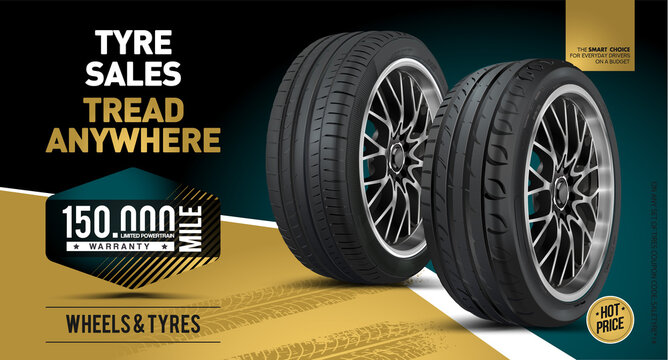 Car tire background. Vector automotive banner template. Grunge tire tracks backgrounds for landscape poster, digital banner, flyer, booklet, brochure and web design. Tire texture close up.