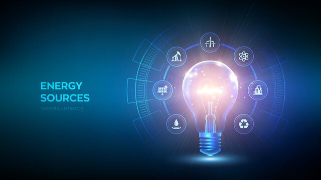 Glowing light bulb with energy resources icon. Electricity and energy saving concept. Energy sources. Campaigning for ecological friendly and sustainable environment. Vector illustration.