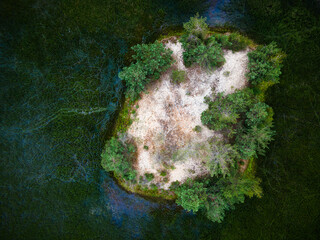 Wall Murals Island Smal island on Wild Lake. Top Down Drone View