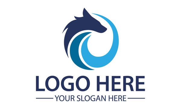 Blue Circle Abstract Fox Wolf Logo Design