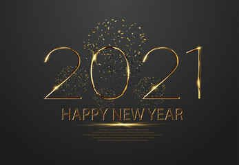Happy new 2021 year. Elegant gold text with light. Party poster, banner or invitation gold glittering stars confetti glitter decoration. Liquid numbers 2021 are isolated on a grey background. Vector