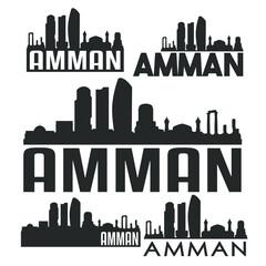 Amman Jordan Flat Icon Skyline Vector Silhouette Design Set Landmark Logo.
