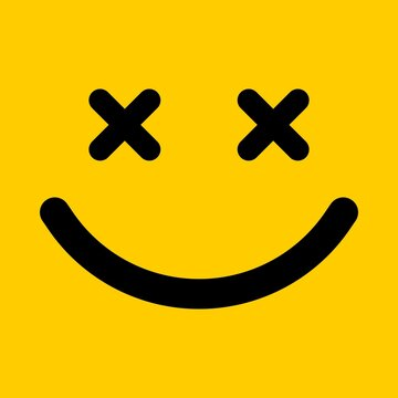 Happy smiley face illustration. Emoticon in outline style.