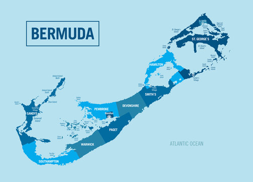 Bermuda country island political map. Detailed vector illustration with isolated provinces, departments, regions, states and cities easy to ungroup.
