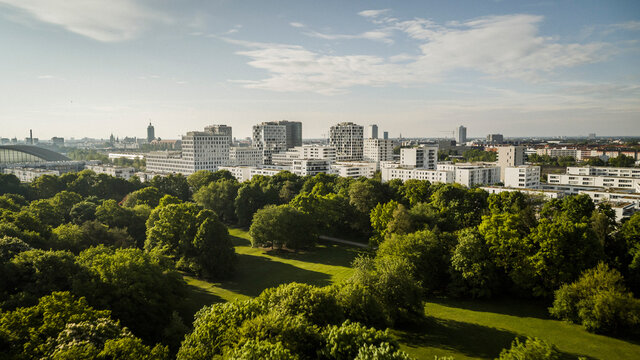 Sunny Hirschgarten and Munich cityscape, Bavaria, Germany
