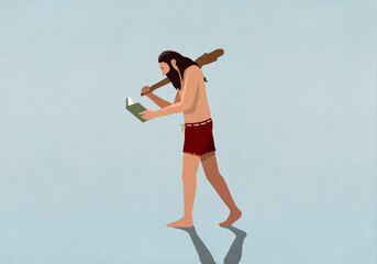 Caveman reading book