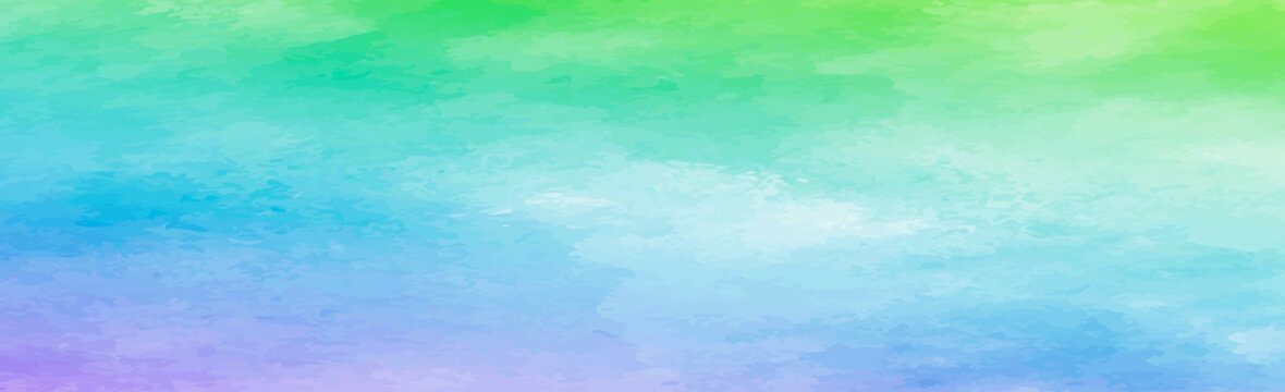 Panoramic texture of realistic multi-colored watercolor on a white background - Vector