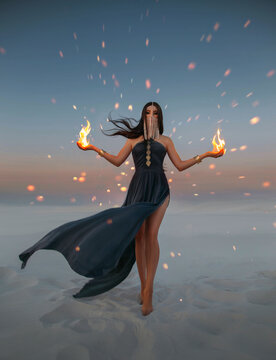 Beautiful woman sorceress holding fire in her hands. Art photo Fantasy model with flaming arms casts spell. Girl battle mage hides face. Desert twilight sparks are burning. dress flies in wind motion