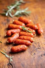 Mini salami sausages.