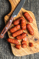 Sliced mini salami sausages.