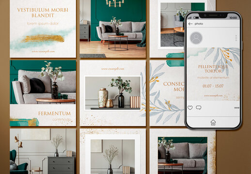 A Set of 15 Social Media Post Layouts with Watercolor Accents
