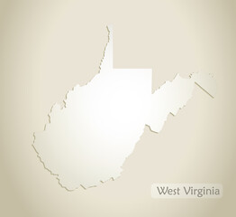 West Virginia map, old paper background vector