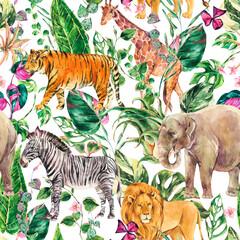 Watercolor jungle seamless pattern, safari animals floral summer texture