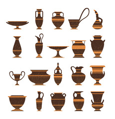 Set of ancient greek pottery amphorae, vases with patterns, decorations.