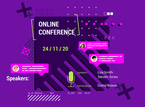 Modern poster online conference with abstract shapes and trendy design. Invitation online business webinar poster in flat style. Beautiful and bright conference poster with place for text. Vector