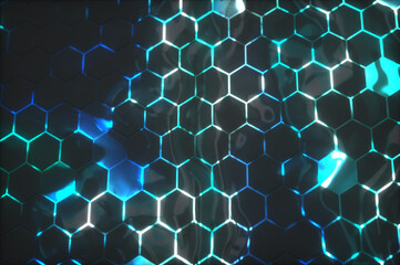 Abstract background with glowing hexagons. Futuristic technology honeycomb mosaic. 3D render...
