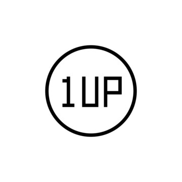 1up icon  in black line style icon, style isolated on white background