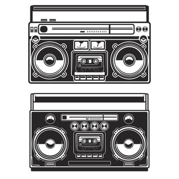 Set of Illustrations of boombox isolated on white background. Design element for poster, card, banner, logo, label, sign, badge, t shirt. Vector illustration