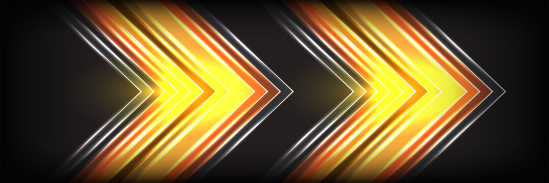 Abstract modern layer geometric technology yellow arrow direction speed gold light futuristic graphic illustration background