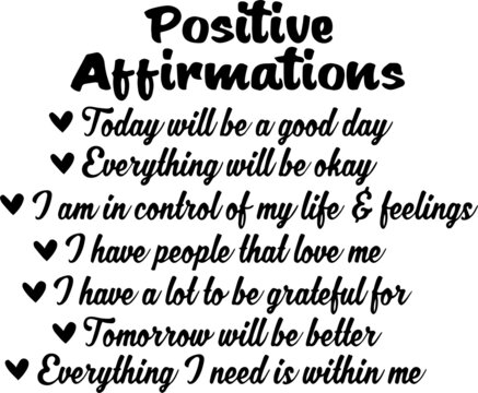 positive affirmations concept inspirational quotes and motivational typography art lettering composition design