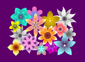 Fotorolgordijn Abstractie Art Abstract colored vector illustration with many different flowers on a dark violet background. Floral design. In a vector file each flower is on separate layer.
