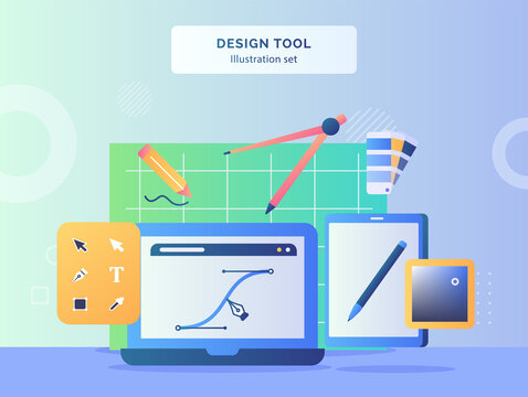 Design tool illustration set line pen tool on display monitor laptop background of compass drawn pencil pallet color toolbar tablet with flat style.