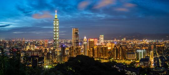 Taipei 101 Tower at Night, Taipei, Taiwan Fotobehang