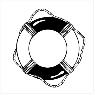 Life ring, hand drawn isolated vector illustration
