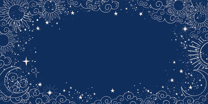 Blue space background with sun, moon and stars with place for text. Magic banner with copy space. Blank for astrology, fortune telling, boho parties. Vector illustration