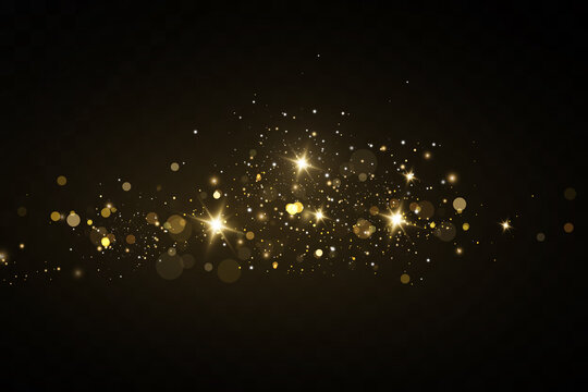 Vector sparkles on a transparent background. Christmas light effect. Sparkling magical dust particles.The dust sparks and golden stars shine with special light.