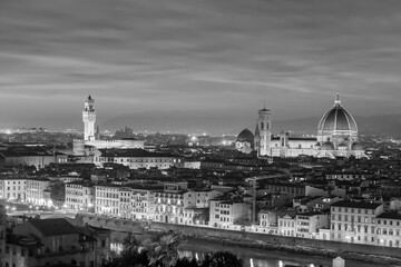 Duomo and Florence city downtown skyline cityscape of  Italy