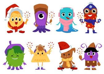 Door stickers Monster Monsters characters set with Christmas hats flat vector illustration isolated.