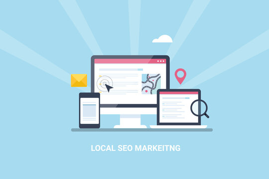 Local search, local business listing displaying on desktop.  Searching local store, seo search result showing on laptop and mobile. Local search marketing and local seo optimization. Web banner.