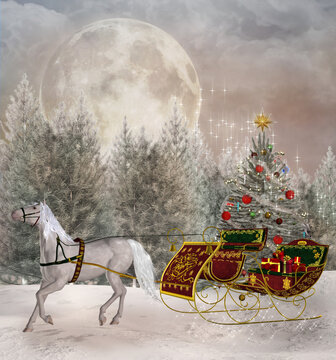 Christmas travel scene with a white horse dragging a sledge full of presents