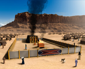 Biblical Tabernacle  the altar and Jewish tent city