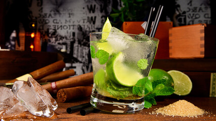 Mojito Cocktail with cuban Cigars Background