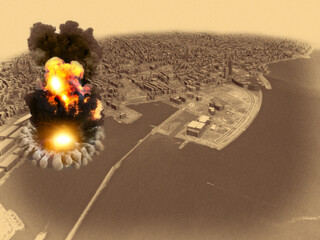Aerial view during the explosion in the port area of Beirut, Lebanon. Ammonium nitrate stored in the harbor. 3d render