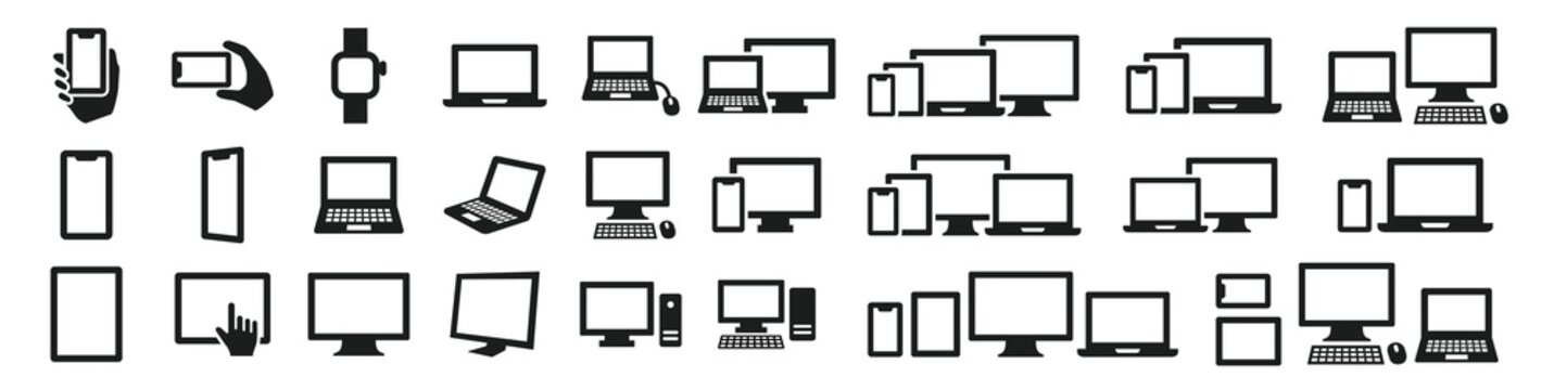 Simple computer icon set in various shapes