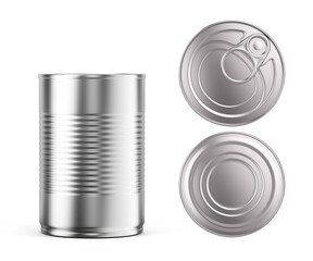 Blank metal tin can on white background. Mockup template for your design. 3d rendering